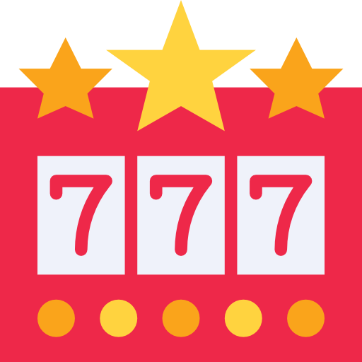 Slot machine icon with number 7 in each reel